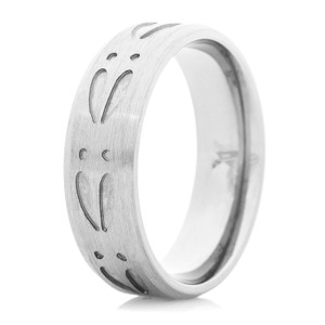 Men's Titanium Center Run Deer Track Ring