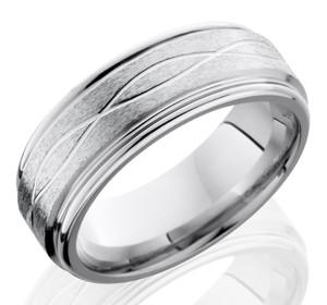 Men's Grooved Edge Infinity Wave Cobalt Ring