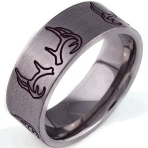 Men's Titanium & Bronze Outlined Deer Antler Ring