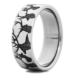 Men's Titanium Deer Heads Ring