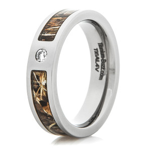 Women's Titanium Inset Diamond Camo Ring