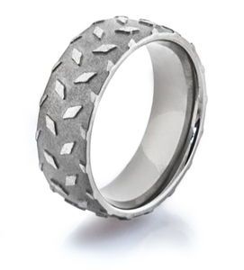 Men's Titanium Diamond Plate Wedding Ring