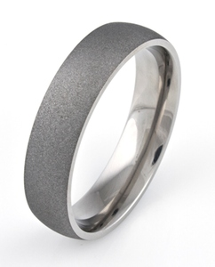 Men's Dome Profile Titanium Sandblasted Ring