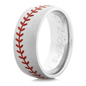 Men's Gunmetal Baseball Stitch Ring with Color Stitching