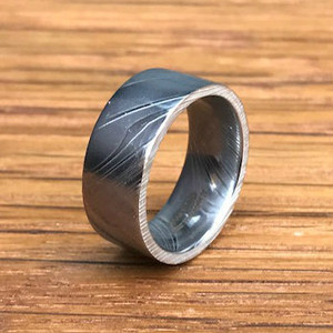 Men's Flat Profile Damascus Steel Wedding Band