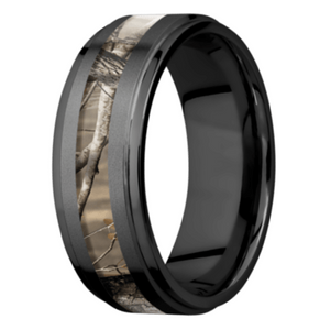 Men's Charcoal Black Zirconium Camo Ring