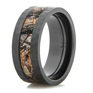Men's Hammered Black Zirconium Camouflage Ring