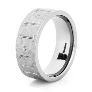 Men's Hammered Titanium Duck Band Wedding Ring