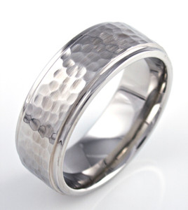 Men's Cobalt Hammered Wedding Band