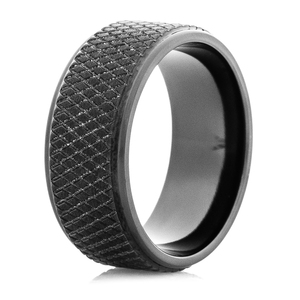 Men's Black Zirconium Hockey Puck Ring
