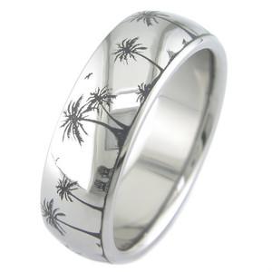 Laser Engraved Paradise Titanium Ring