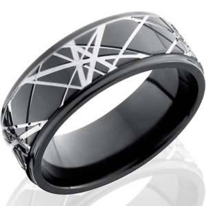 Laser Light Retro Black Zirconium Ring
