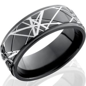 Laser Light Retro Black Zirconium Ring