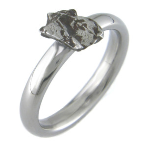 Women's Titanium Solitaire Meteorite Engagement Ring
