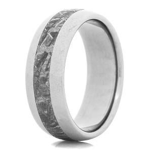 Men's Satin Finish Titanium Gibeon Meteorite Ring