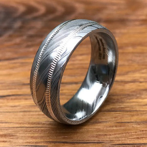 Men's Damascus Steel Ring with Dual Milled Sterling Silver Grooves