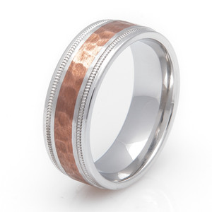 Cobalt and Copper Wedding Ring with Milled Edges