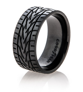 Men's Black Goodyear Tire Tread Rings
