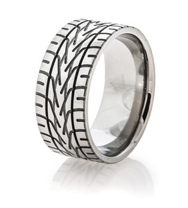 Men's Titanium Goodyear® Tire Tread Rings