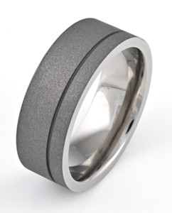 Men's Flat Profile Titanium Sandblasted Ring with Offset Groove