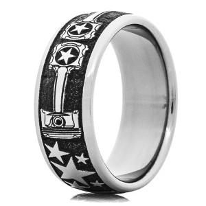 Men's Laser-Carved Titanium Stars and Piston Wedding Ring