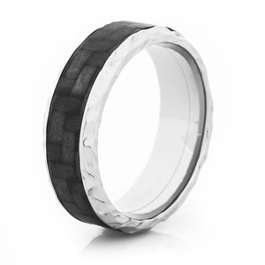 Rock Hammered Titanium Carbon Fiber Ring
