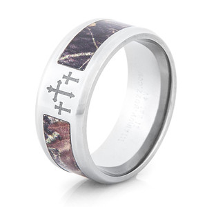 Titanium Three Cross Camo Ring