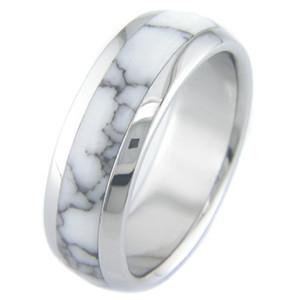 Titanium and White Marble Ring