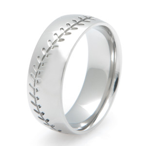 Men's Titanium Baseball Stitch Wedding Ring