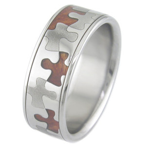 Men's Dome Profile Polished Titanium and Hardwood Puzzle Ring