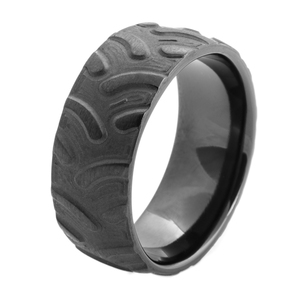 Men's Black Tractor Ring