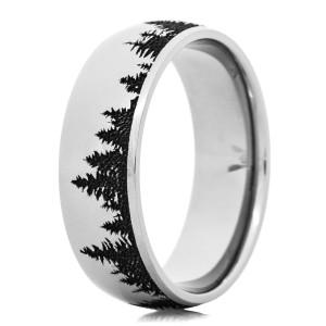 Men's Laser-Carved Cobalt Tree Line Ring