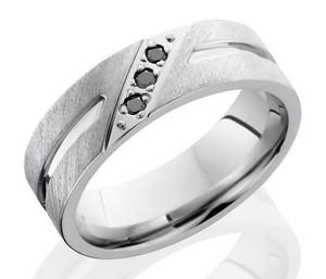 Men's Cobalt Triple Black Diamond Ring with Wide Center Groove