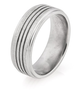 Men's Triple Groove Arctic Titanium Wedding Ring