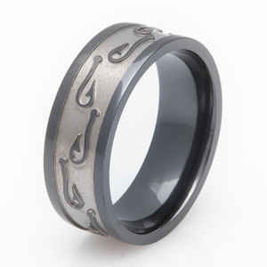 Men's Two-Tone Black Zirconium Fishing Hook Ring