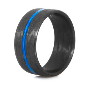 Wide Thin Blue Line Carbon Fiber Ring