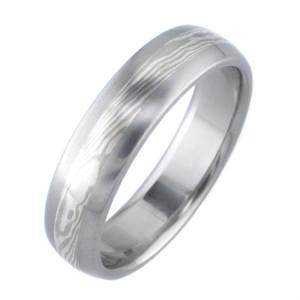 Titanium White Gold and Silver Twist Mokume Wedding Ring