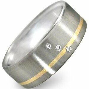 Men's Titanium Triple Diamond Ring with Gold Inlay