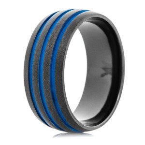 Men's Matte Black Ring with Triple Blue Grooves Wedding Ring, 9mm Width
