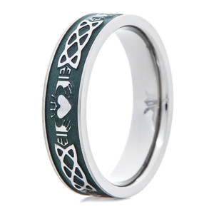 Women's Titanium Claddagh Ring with Green Background