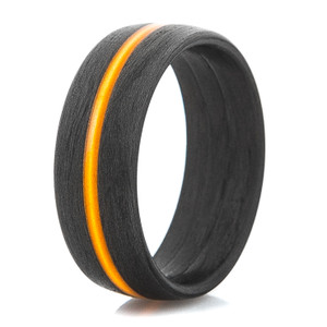 Men's Carbon Fiber Ring with Thin Orange Line