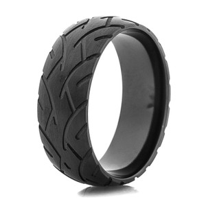 Men's Black Motorcycle Tread Rings