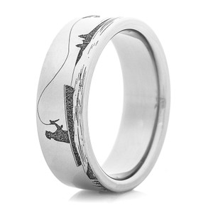 Men's Titanium Fishing and Elk Hunting Scene Ring