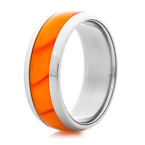 Titanium Ring with Blazing Orange Inlay
