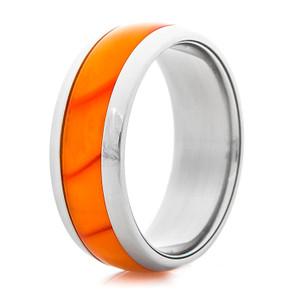 Titanium Ring with Blazing Orange Inlay