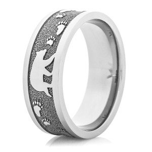 Men's Titanium Bear in the Woods Ring