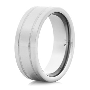Men's Tungsten Carbide Wedding Band with Dual Grooves