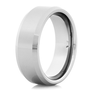 Men's Polished Tungsten Wedding Band with Raised Center