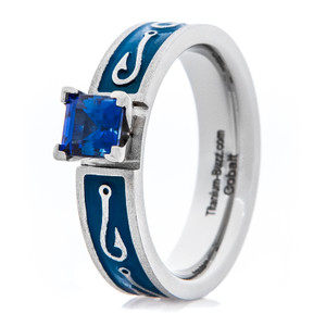 Women's Blue Chatham Sapphire Fish Hook Engagement Ring