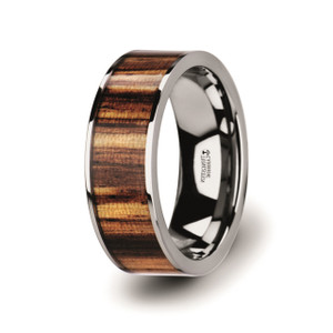 Men's Flat Tungsten Carbide Ring with Genuine Zebra Wood Inlay